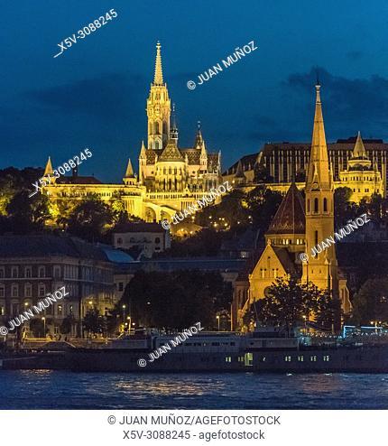 Panoramic night view of Budapest from the Danube. Budapest. Hungary