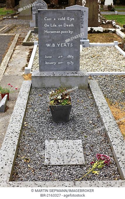 Grave of W. B. Yeats, Drumcliff, County Sligo, Connacht, Ireland, Europe