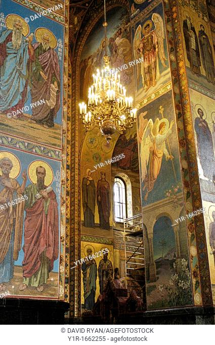 Russia, St  Petersburg,The Church of Our Savior on the Spilled Blood Where Tsar Alexander II was assasinated in 1881, Mosaic Murals on interior columns