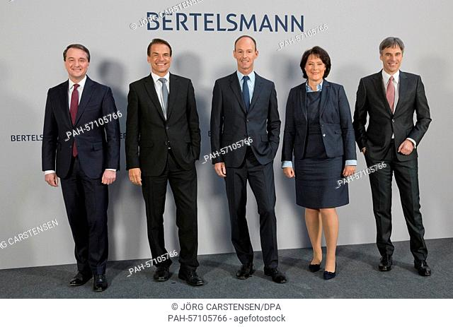 The members of the Board of Directors of Bertelsmann, Immanuel Hermreck (L-R), Markus Dohle, Thomas Rabe, Anke Schaeferkordt and Achim Berg pose during the...