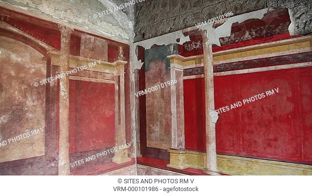 PAN, Interior: Exquisitely preserved frescoed rooms in the ruined House of Augustus, the first Emperor of Rome. The frescoes were created ca