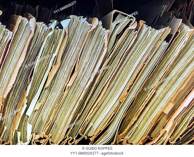 Berlin, Germany. Bottoms of Stasi Archive Folders with lots of information about former East-German citizens. These archives are still maintained and accessible...