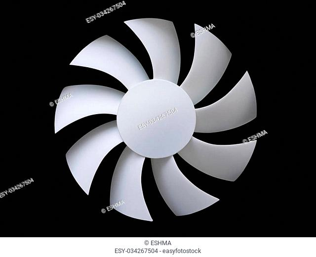 White fan blades isolated on black background with clipping path