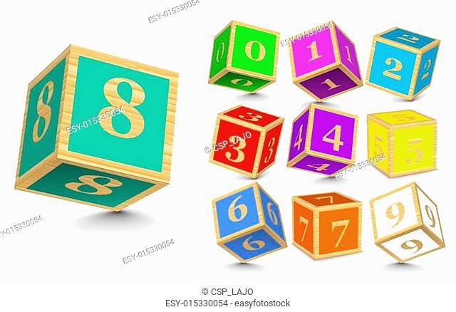 Vector wooden number blocks