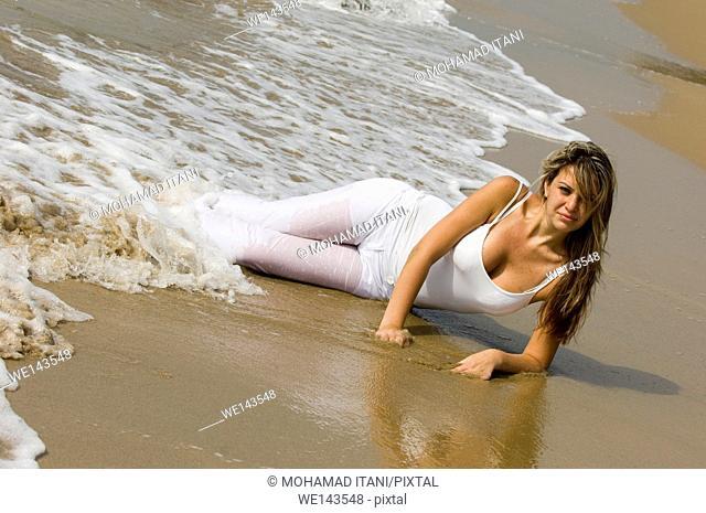 gorgeous woman on the beach