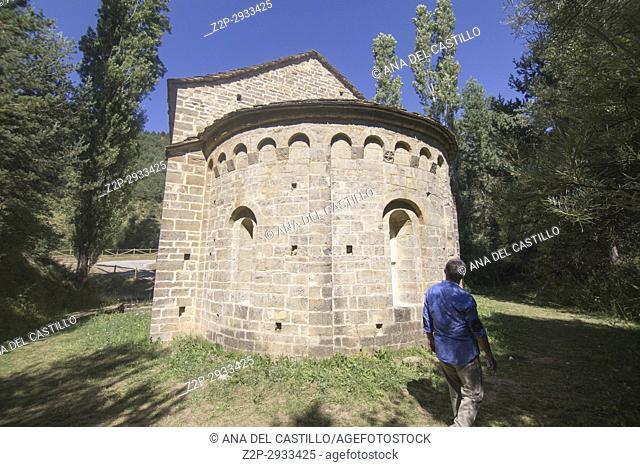 San Adrian de Sasabe romanesque church in Huesca mountains Spain