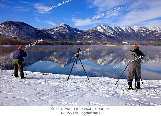 Photographers in Lake Kussharo,Akan National Park,Hokkaido,Japan