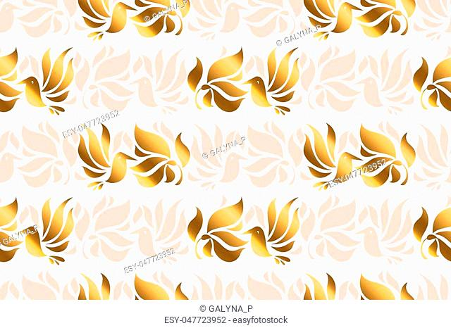 Abstract humming bird in art nouveau style. seamless pattern. Decorative luxury tropical floral elements for background, wrapping paper, fabric