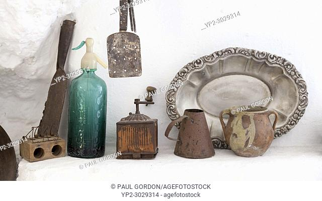 Granada, Spain: Kitchen still-life at the Cuevas del Sacromonte Museum in the Barrio Albaicín