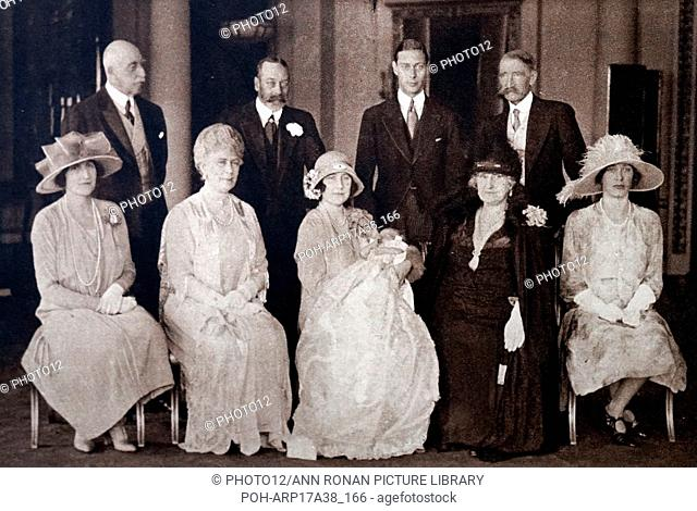 Photograph taken during the Christening of Princess Elizabeth (1926-) the eldest daughter of Prince Albert Frederick Arthur George (1895-1952) and Lady...