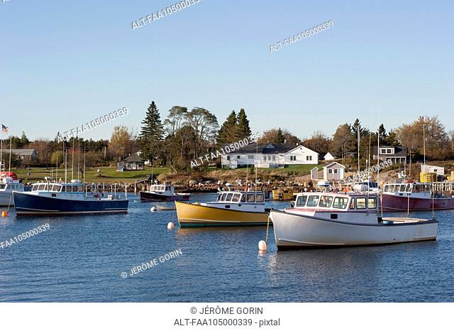 Fishing boats moored in marina near small fishing village in Maine, USA