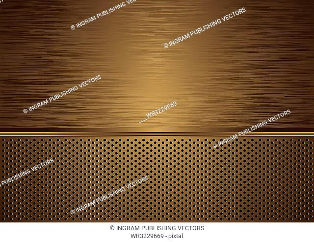 Gold brushed metal background with grill effect and copy space