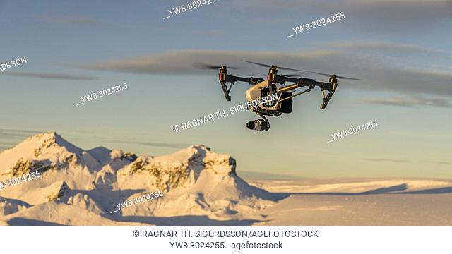 Drone flying, Hagafellsjokull Glacier, Langjokull Ice Cap, Iceland Hagafellsjokull Glacier, Langjokull Ice Cap, Iceland
