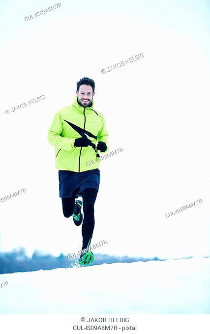 Man snow running