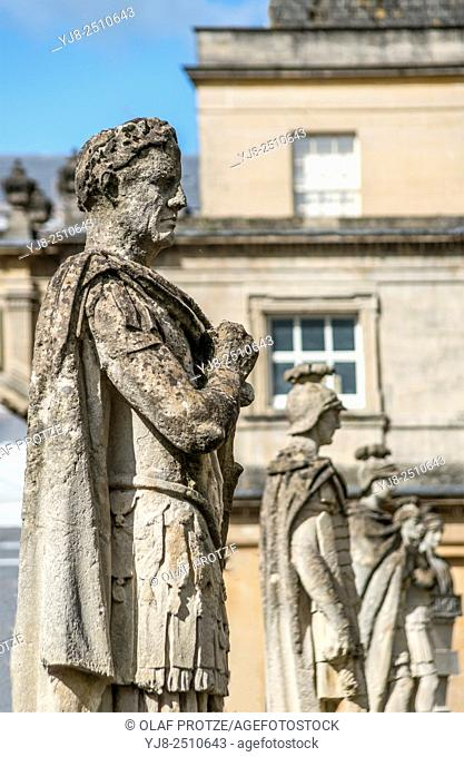 Sculpture of Emperor Vespasian at the Roman Baths complex; a site of historical interest in the English city of Bath; Somerset; England