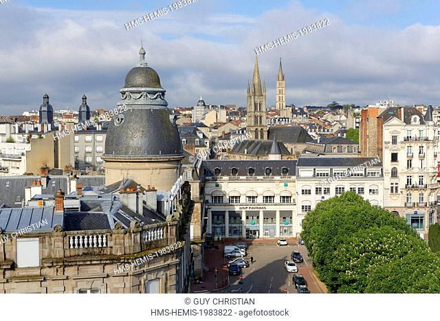 France, Haute Vienne, Limoges, Jourdan place and churchs Saint Pierre and Saint Michel des Lions