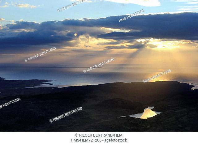 United Kingdom, Scotland, Highland, Inner Hebrides, Isle of Mull, Quinish Point on the north coast aerial view