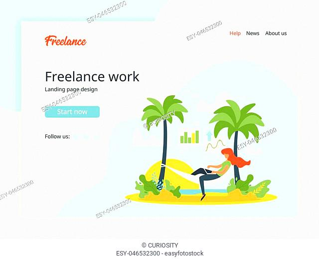 Vector minimalism design concept for freelancing and remote work. Woman silhouette relaxes in a hammock and working with laptop