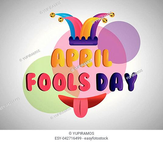 funny mouth tongue out and jester hat fools day poster vector illustration