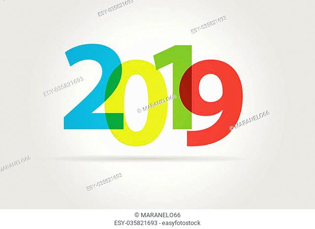 Happy new year 2019, colorful text