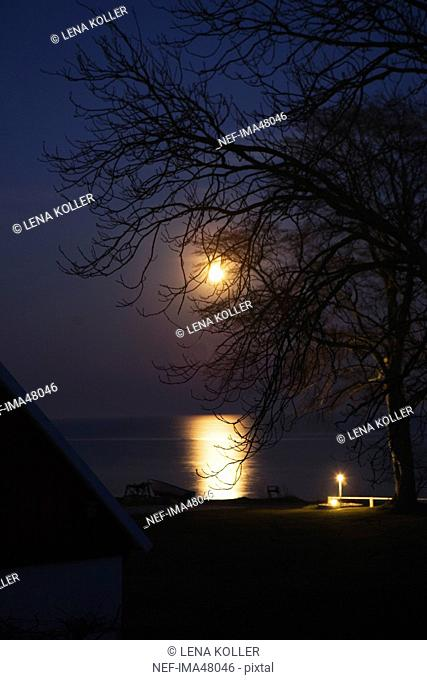 Fullmoon over the sea, Sweden