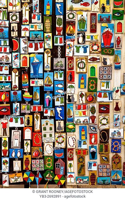 Colourful Souvenirs For Sale, Corfu Old Town, Corfu, Greece