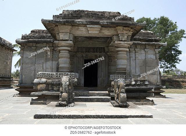 Front view of Adinataha Basadi, Basadi Halli jain temple complex, Karnataka, India