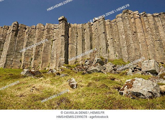 Iceland, Snaefellsnes peninsula, Gerduberg area, wall of basalt columns
