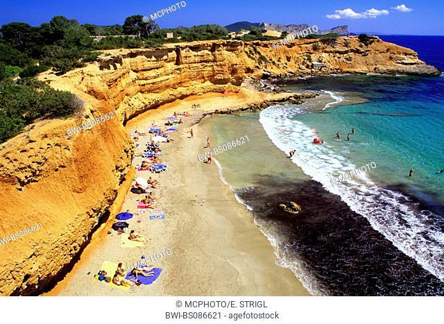 people on the beach of Cala sa Caleta or Bol Nou, Spain, Spain, Balearen, Ibiza