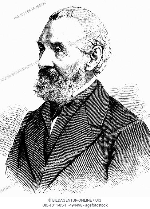 Ernst heinrich carl von dechen, 1800 - 1899, a professor of mining engineering and inventor, historical engraving, about 1889