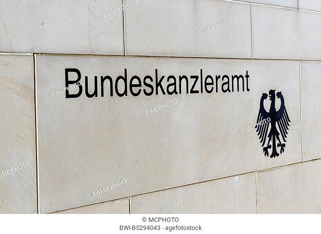 'Bundeskanzleramt' and federal eagle at the wall of German chancellery, Germany, Berlin