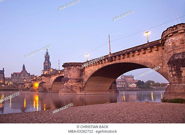 Augustus bridge and the Old Town of Dresden, Dresden, Saxon, Germany