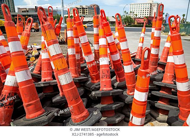 Las Vegas, Nevada - Traffic barriers stacked near a road construction site