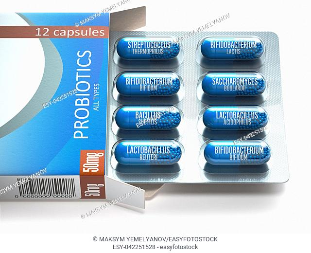 Probiotics. Blister box with all types of probiotics capsules. Pills with bifidobacterium, lactobacillus, sacchaomyces and othes bacillus