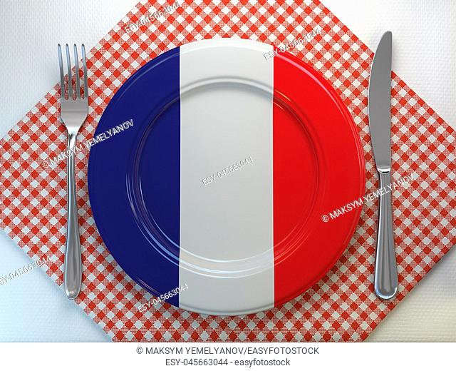 French cuisine or french restaurant concept. Plate with flag of France with knife and fork. 3d illustration