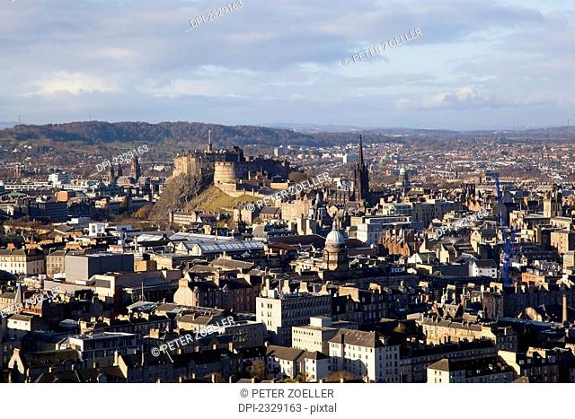 Cityscape Of Edinburgh With A View Of A Castle; Edinburgh, Scotland
