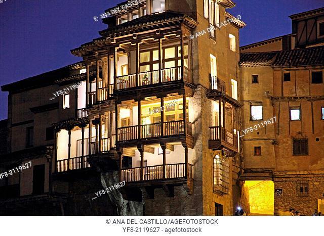 Hanging houses at dusk in Cuenca, Castile La Mancha, Spain