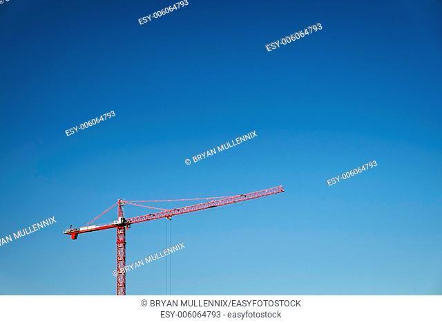 Construction crane against clear blue sky, Portland, Oregon