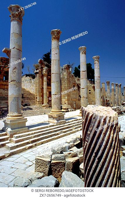 Cardo Maximus Columnade at the Roman Ruins of Jerash in Jordan