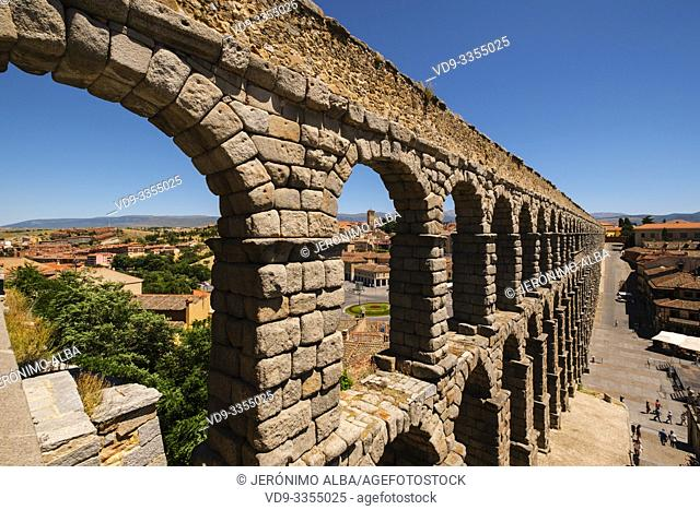 Ancient roman aqueduct, UNESCO World Heritage Site. Segovia city. Castilla León, Spain Europe