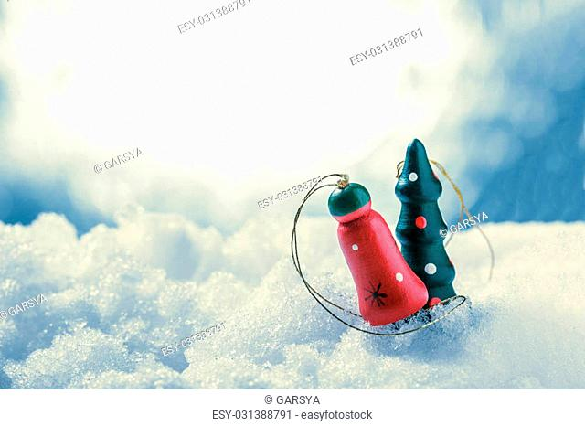 Christmas tree decoration for design on snow background