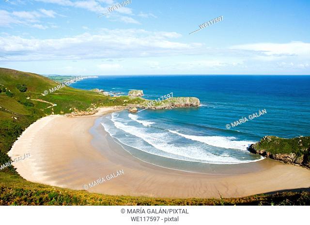 Overview of Torimbia beach. Niembro, Asturias province, Spain