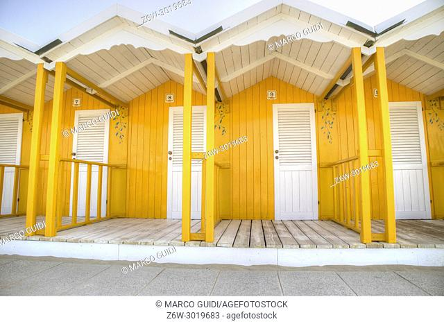Details of typical, colored beach cabins in Versilia Italy