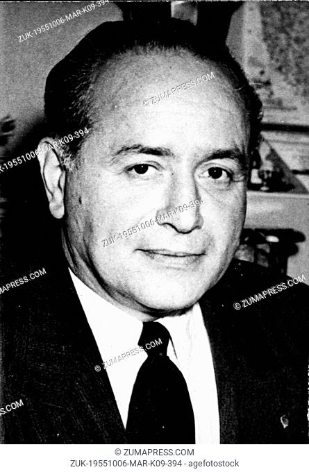 Oct. 6, 1955 - Paris, France - PIERRE BILLOTTE succeeds Koenig as Minister of National Defense and Armed Forces in France