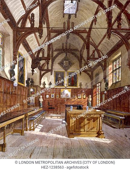 Interior view of Staple Inn hall, London, 1882; looking towards the high table