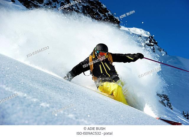 Skier going downhill
