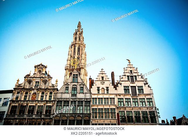 Typical facades with the Cathedral in Grote Markt, Antwerp, Belgium