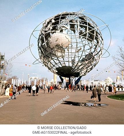 View facing east of the steel Unisphere globe, symbol of the 1964 New York World's Fair, in Flushing Meadows Park, Corona, Queens, New York City, May, 1964