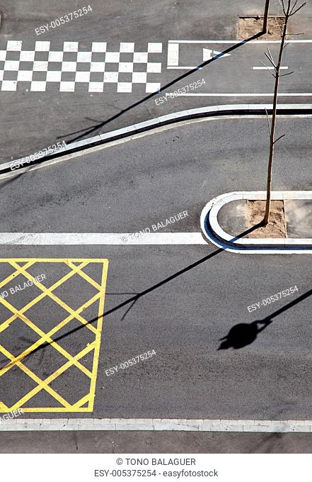 City asphalt lines and shadow aerial view