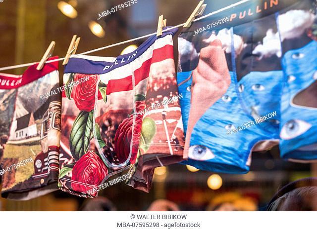 Canada, Quebec, Montreal, St-Laurent Street, hip men's underwear in shop window